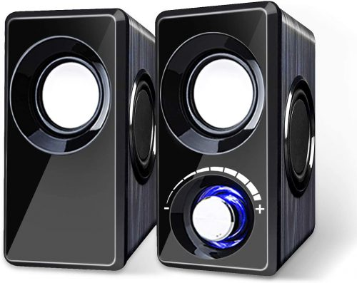 Computer Speakers with Subwoofer Built-in 6 Loudspeaker Diaphragm High Sound Quality USB Powered LED Small Multimedia Speakers for Laptop/Desktop/Tablets/Phone(Black Wood)