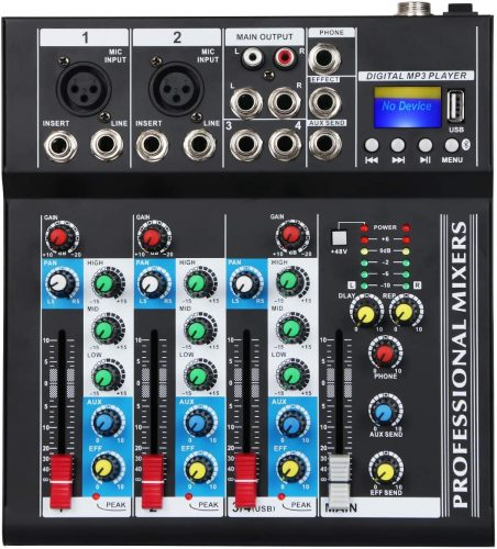Depusheng Professional 4 Channel 48V USB Portable DJ Mixer Bluetooth Live Studio
