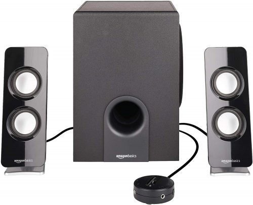 AmazonBasics AC Powered 2.1 30W Bluetooth Computer Speakers with Subwoofer