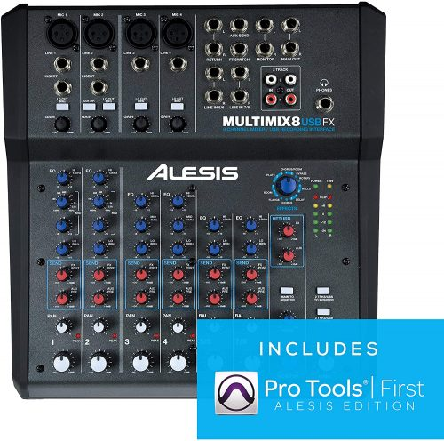Alesis MultiMix 8 USB FX   8-Channel Mixer with Effects & USB Audio Interface - Microphone Audio Interfaces