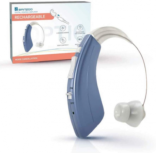 Britzgo Premium Hearing Amplifier for Adults and Seniors, Aids in Hearing, Rechargeable Battery with 50 Hour Life Per Charge, 2 Frequency Modes, Fits Either Ear, BTE,